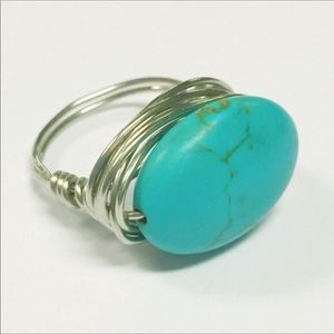 Jewelry - Handmade turquoise magnesite wire wrapped ring